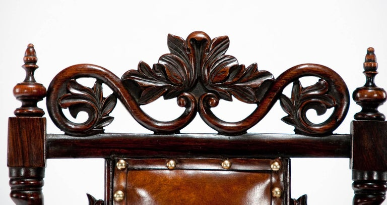 Good Quality Victorian Rosewood Leather Side Chair For Sale 1