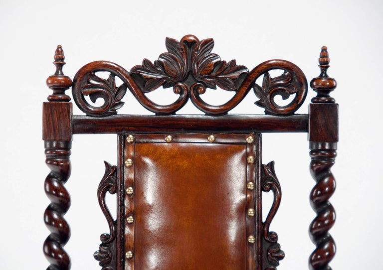 Good Quality Victorian Rosewood Leather Side Chair For Sale 2