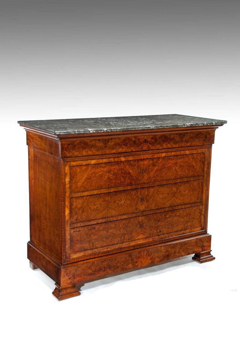 Extremely Fine Burr Walnut Louis Philippe Marble Top