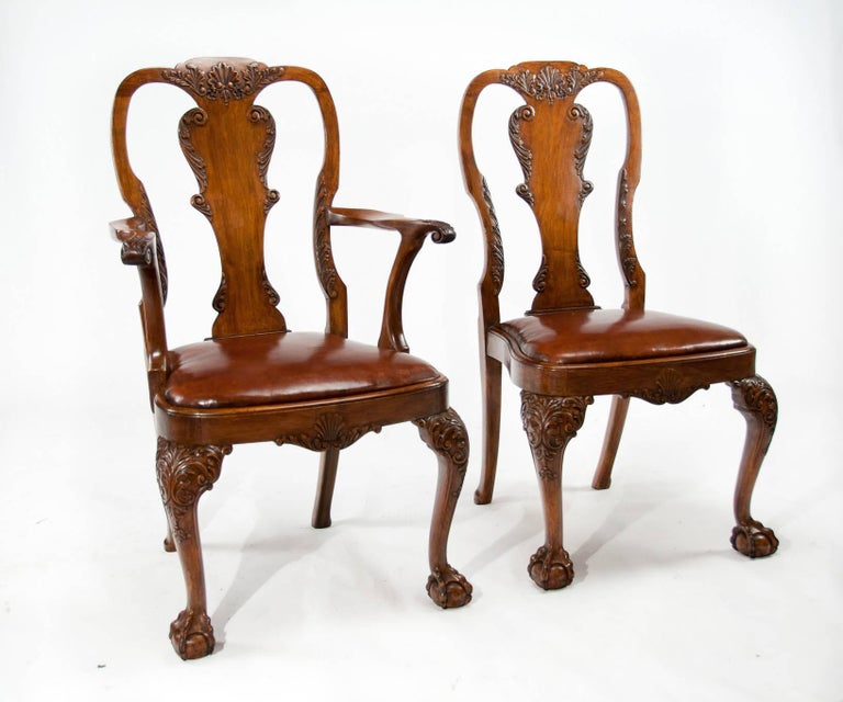 Very good quality and rare set of 12 (ten + two) antique walnut dining - Set Of 12 Antique Walnut Leather Upholstered Dining Chairs At 1stdibs