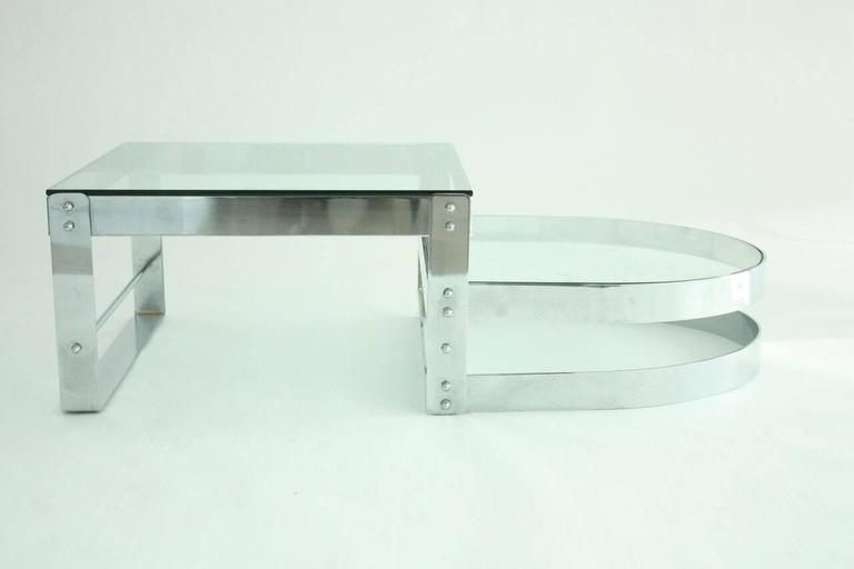 Modern Chrome and Glass Coffee Table Attributed to Willy Rizzo, circa 1970 2