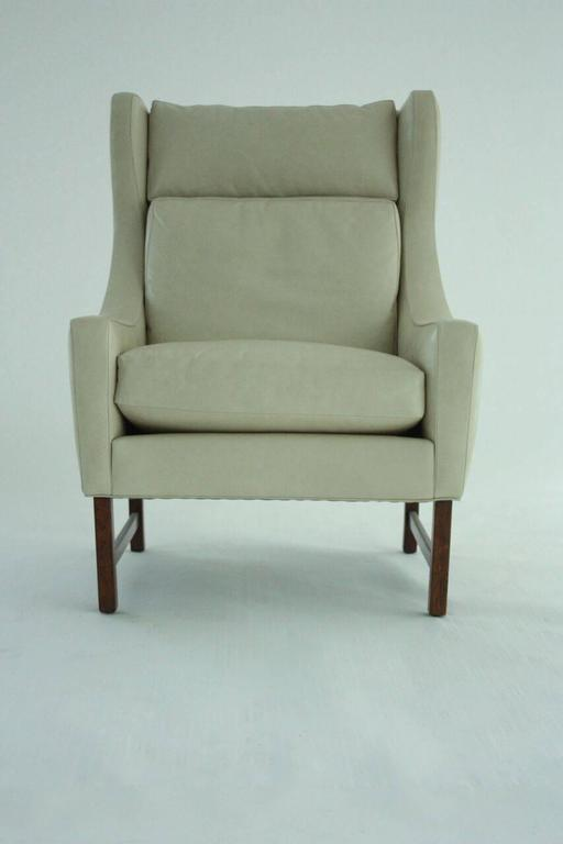 Scandinavian Modern High Back Lounge Chair in Leather 5