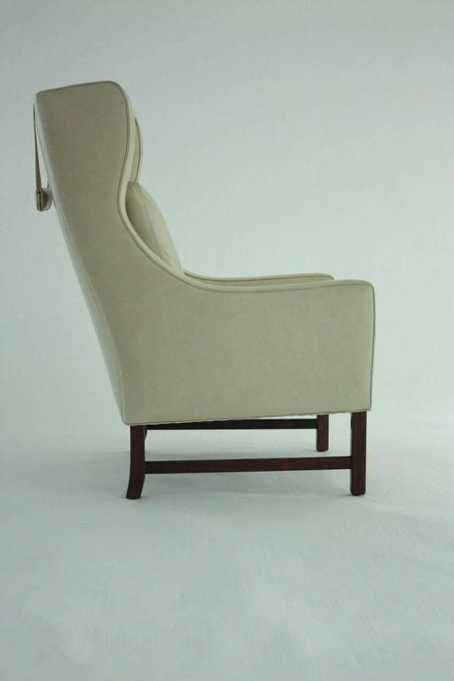 Scandinavian Modern High Back Lounge Chair in Leather 4