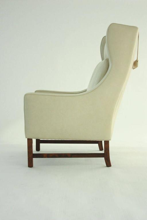 Scandinavian Modern High Back Lounge Chair in Leather 2