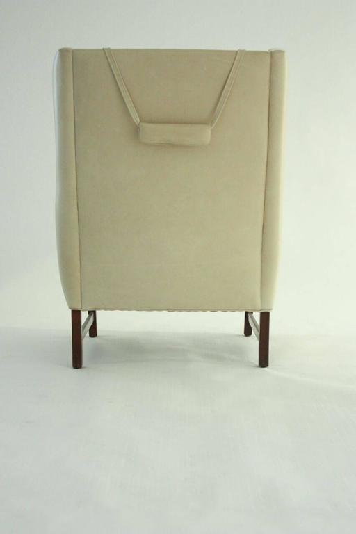 Scandinavian Modern High Back Lounge Chair in Leather 3