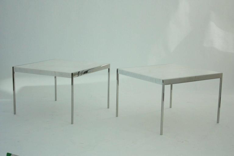 Pair of Mid-Century Chrome Steel and Marble Tables 2