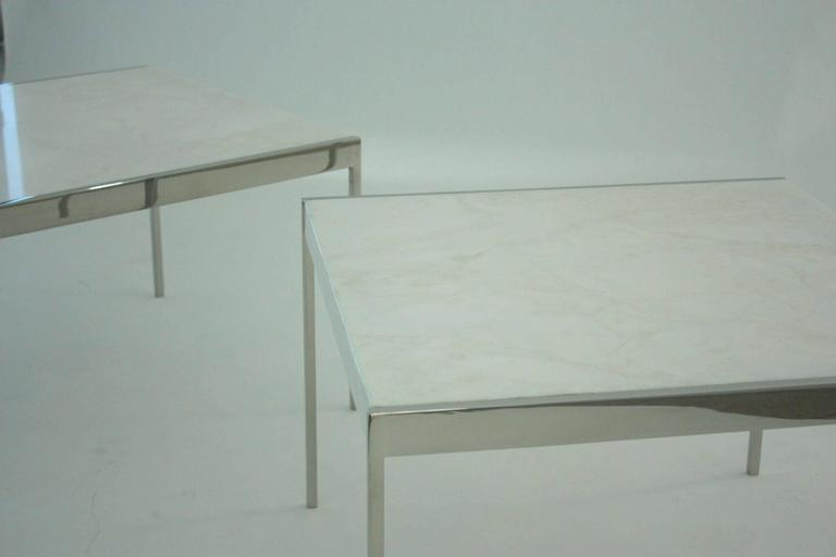 Pair of Mid-Century Chrome Steel and Marble Tables 4