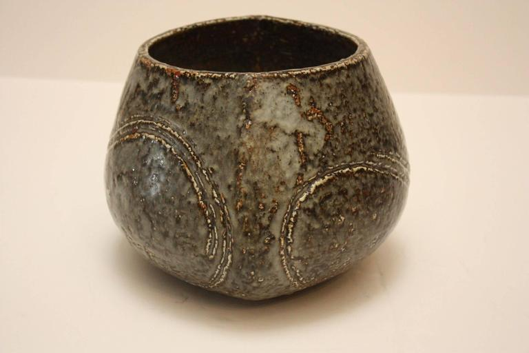 Carl-Harry Stålhane for Rörstrand large vase, marked and signed. Incised stoneware and glaze.