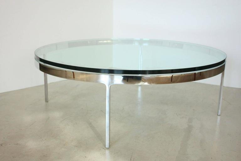 Nicos Zographos coffee table, chromed steel and glass, USA 1970s, stamped and signed.