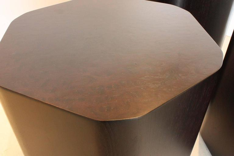 Emily summers studio line modern duck stools. Set of three stools fit make a great coffee table arrangement. Darkened walnut veneer. Walnut veneer sides with walnut burl veneer tops. Custom woods available on custom orders. Sizes vary: Stool 1.