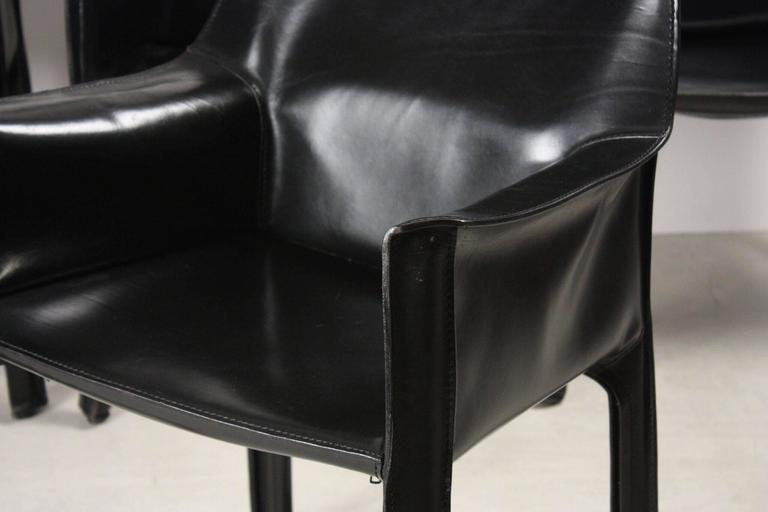 Set of Four Black CAB Armchairs by Mario Bellini for Cassina 2