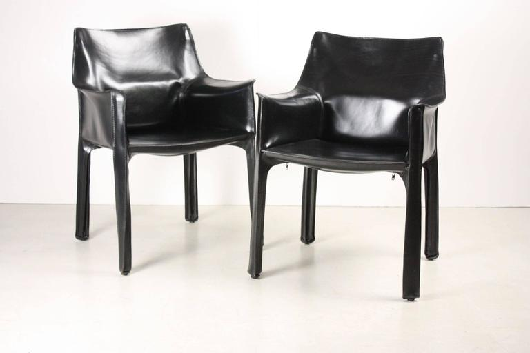 Set of Four Black CAB Armchairs by Mario Bellini for Cassina 4