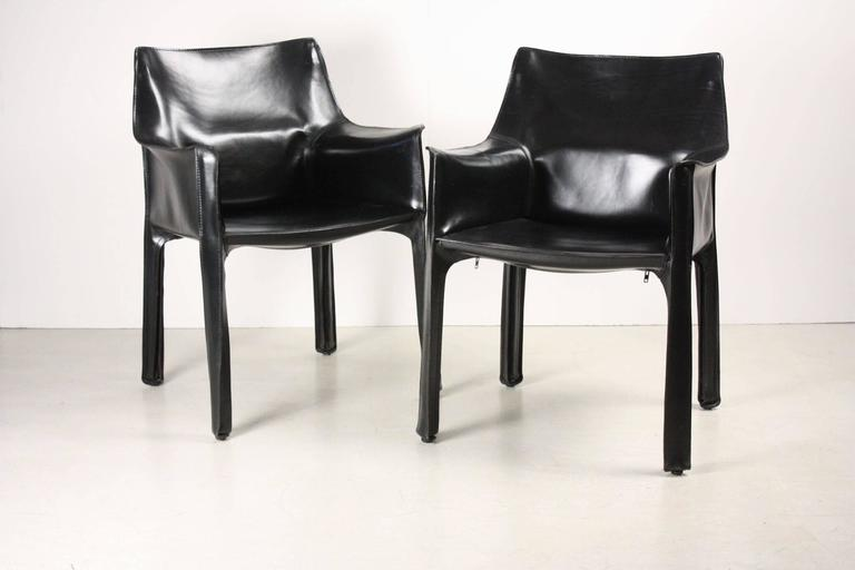 Set of Four Black CAB Armchairs by Mario Bellini for Cassina 5