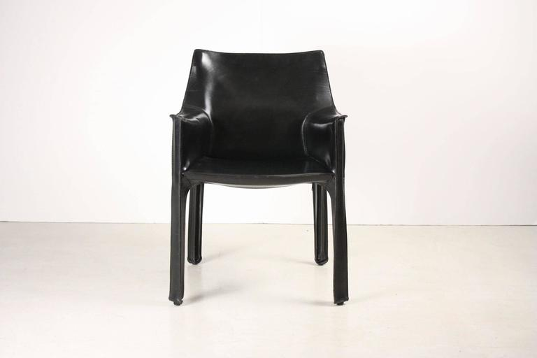 Set of Four Black CAB Armchairs by Mario Bellini for Cassina 6