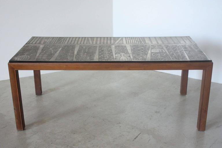 Italian Etched Metal Top Coffee Table 2
