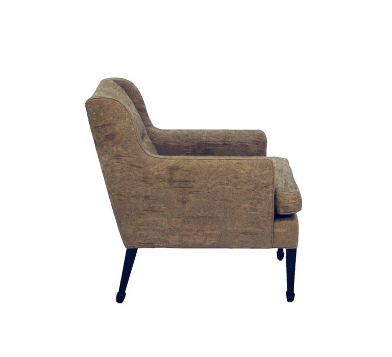 Frits Henningsen Lounge Chair with Stained Beech Legs, Upholstered, Linen 3