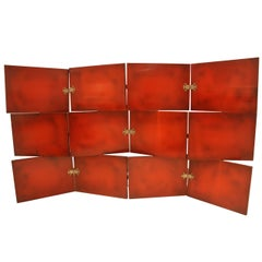 Vintage Red Lacquered Three-Tier Screen by De Coene Freres