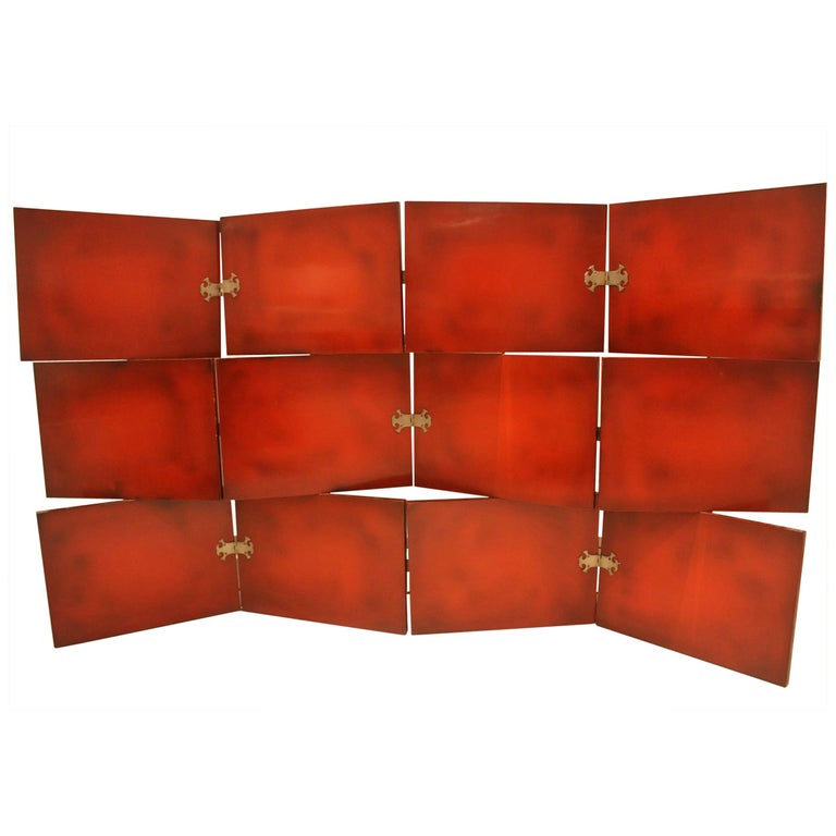 Vintage Red Lacquered Three-Tier Screen by De Coene Freres 1