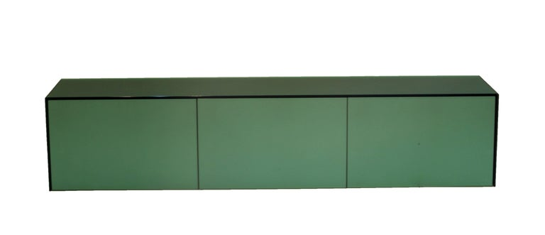 Emily Summers custom design floating console table, turquoise.