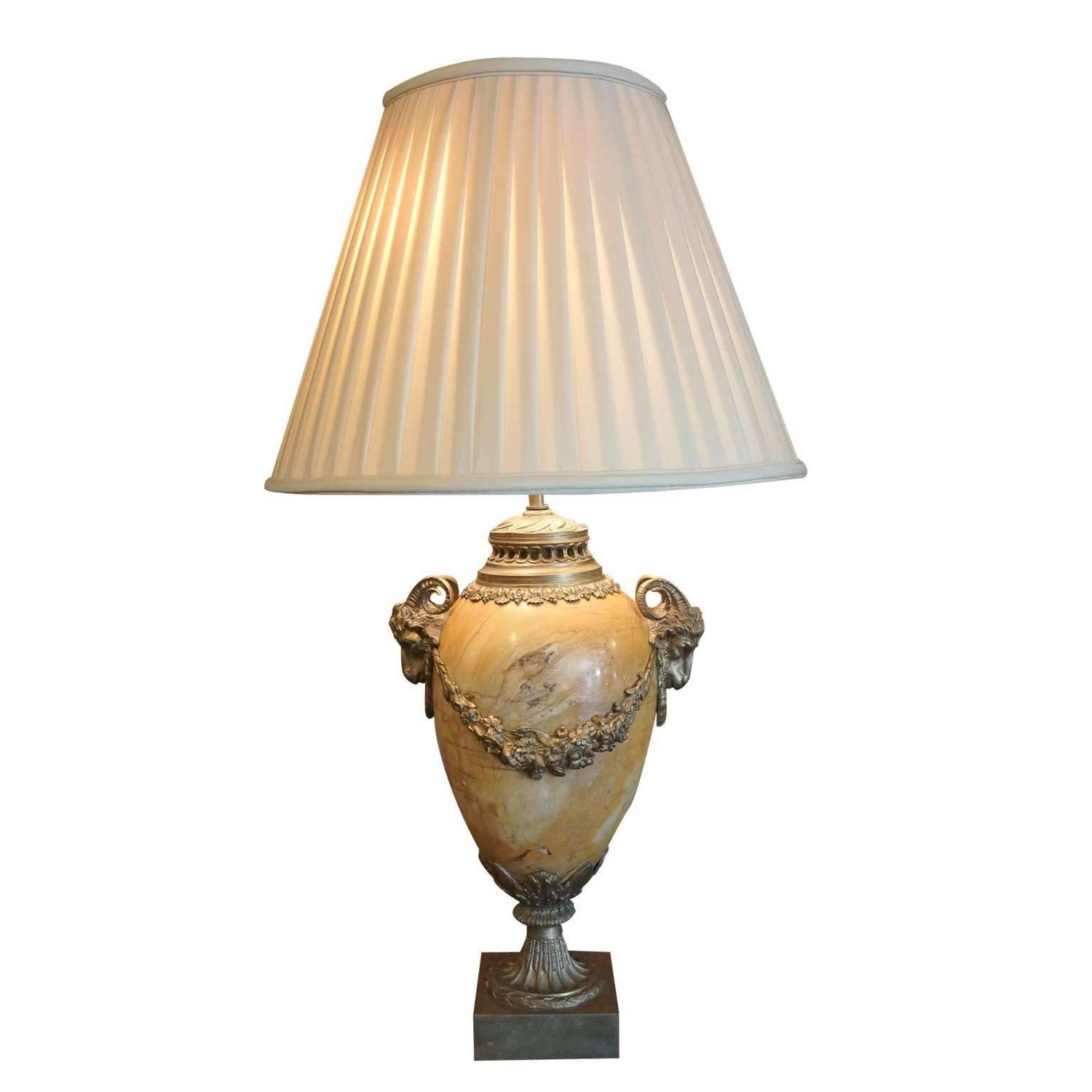 19th Century French Marble Lamp Embellished With Ormolu