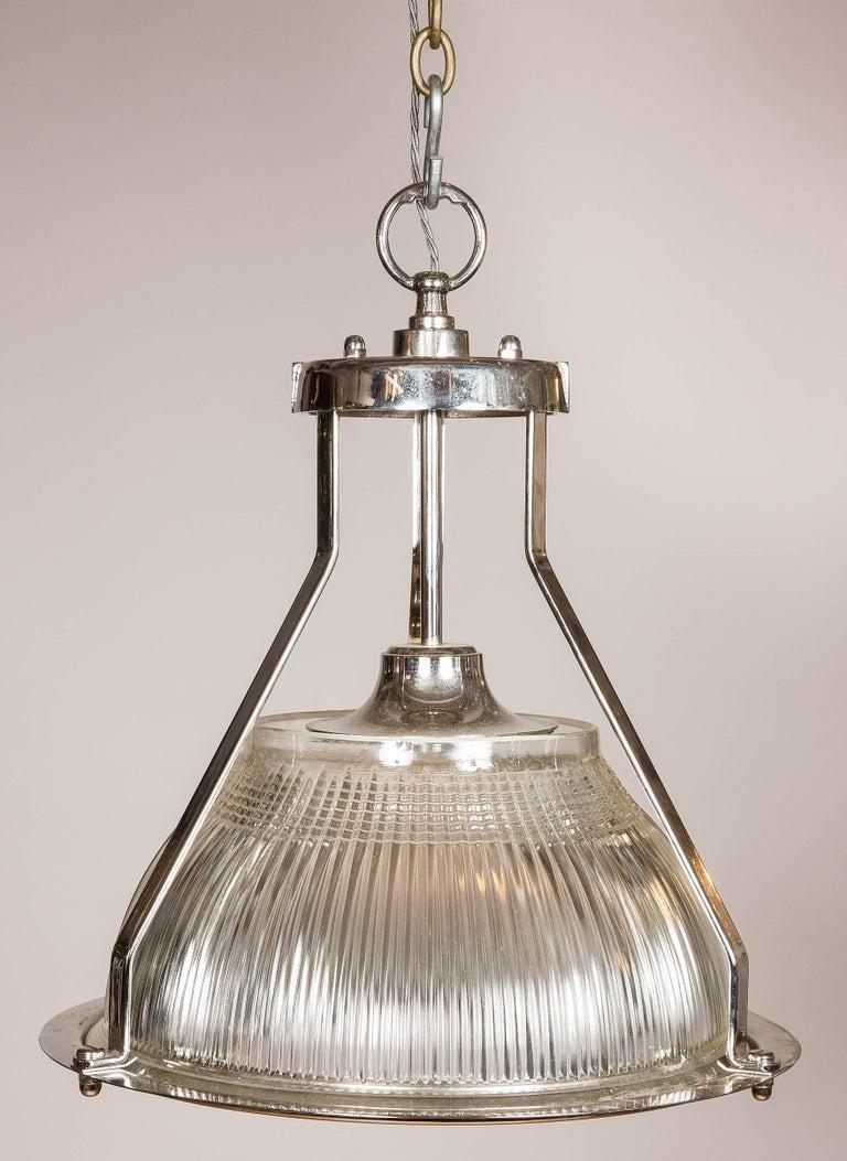 Glass Hanger Light by Holophane For Sale