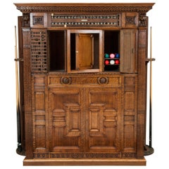 Oak Billiards Cabinet by Thurston & Co. of London