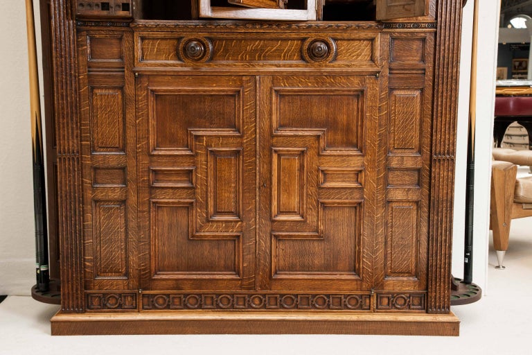 English Oak Billiards Cabinet by Thurston & Co. of London For Sale