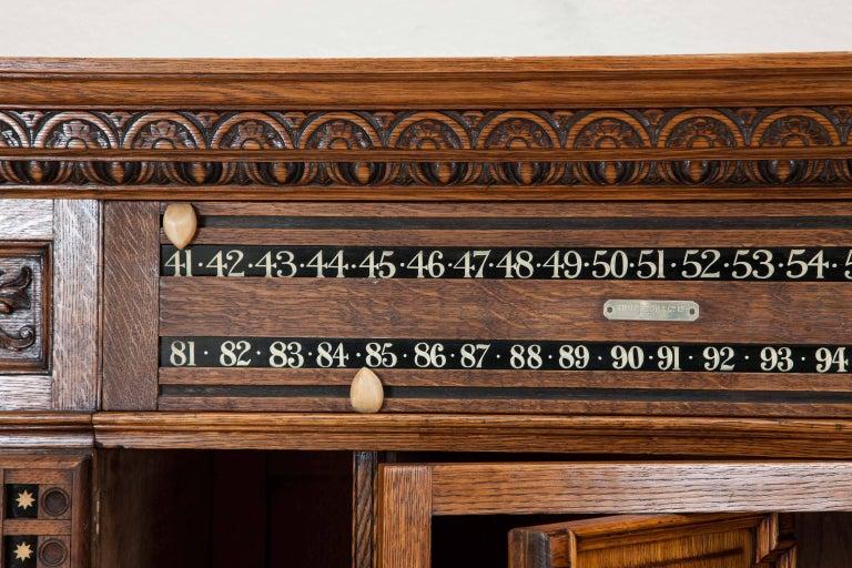 Oak Billiards Cabinet by Thurston & Co. of London For Sale 1