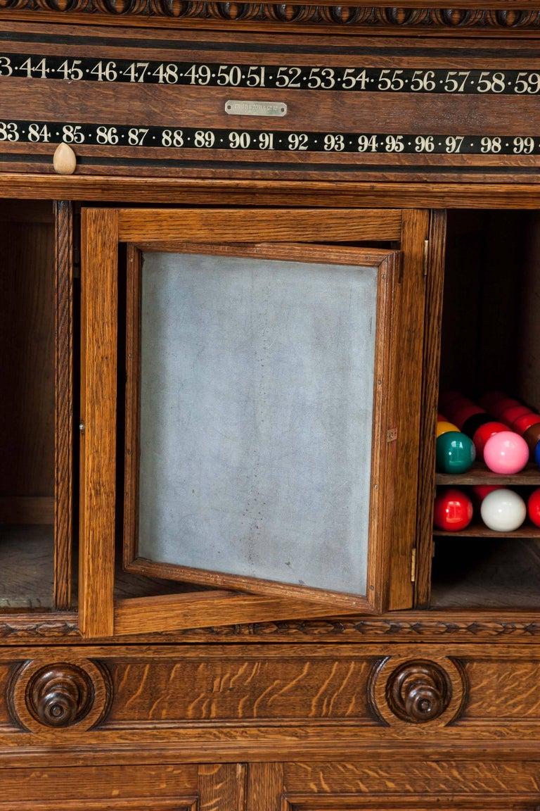 Oak Billiards Cabinet by Thurston & Co. of London For Sale 2