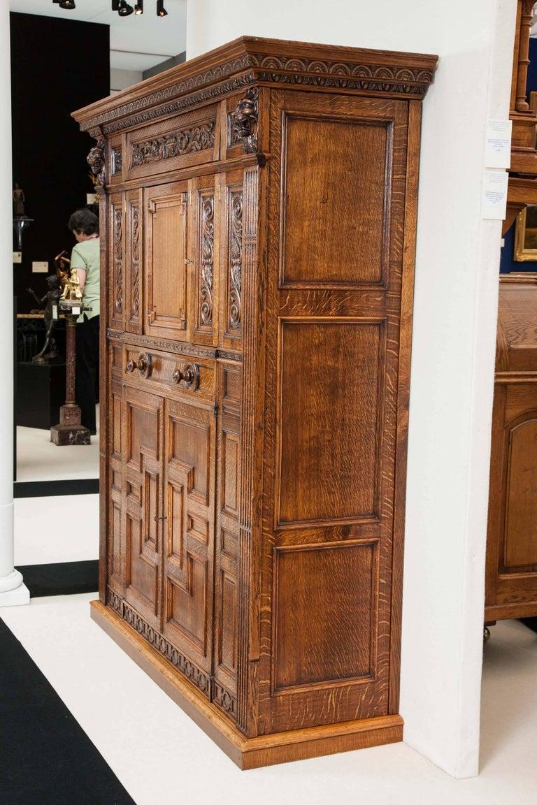 Oak Billiards Cabinet by Thurston & Co. of London For Sale 4