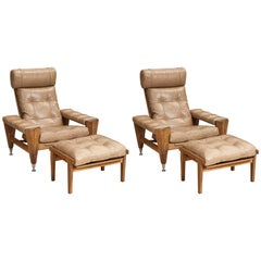 Rare Pair of Oak GE 500 Armchairs by Hans J Wegner Model GE 500