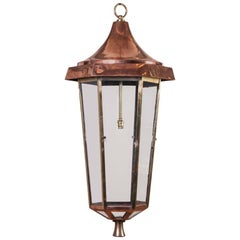 Copper and Brass Hexagonal Hall Lantern