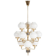 12 Light Two-Tone 1960s Brass and Steel Hanging Lamp