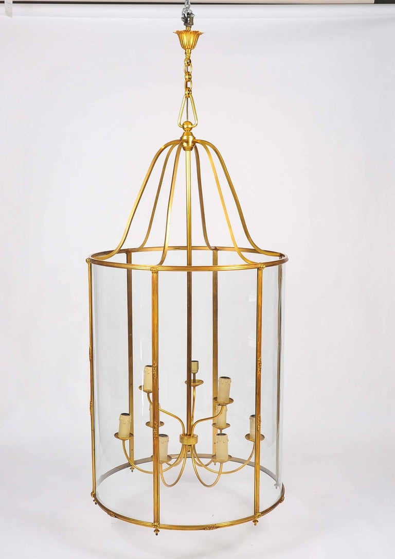 A very large gilt bronze lantern by Atelier Petitot of Paris. 
