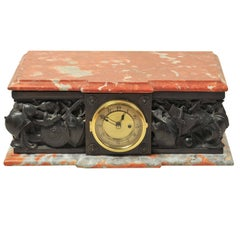 Bronze and Marble Plinth Clock, Depicting Medieval Arms and Armour