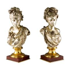 Pair of 19th Century Busts After Albert Ernest Carrier-Belleuse