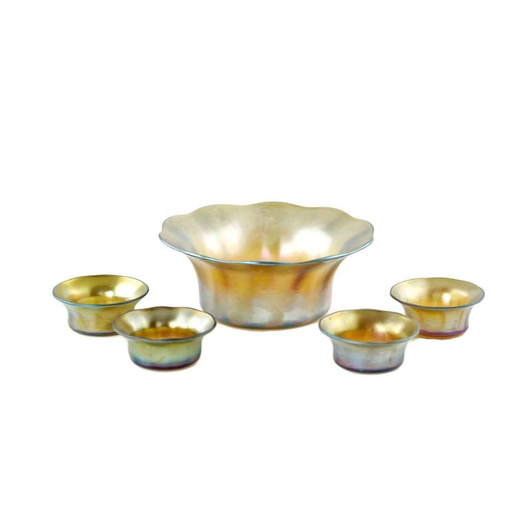 Early 20th Century Tiffany Favrile Glass Five-Piece Serving Set For Sale