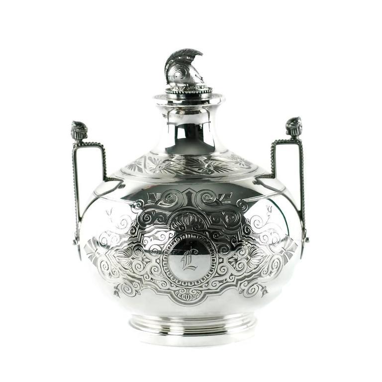 American John R Wendt for Ball Black & Co Seven-Piece Medallion Sterling Tea & Coffee Set For Sale