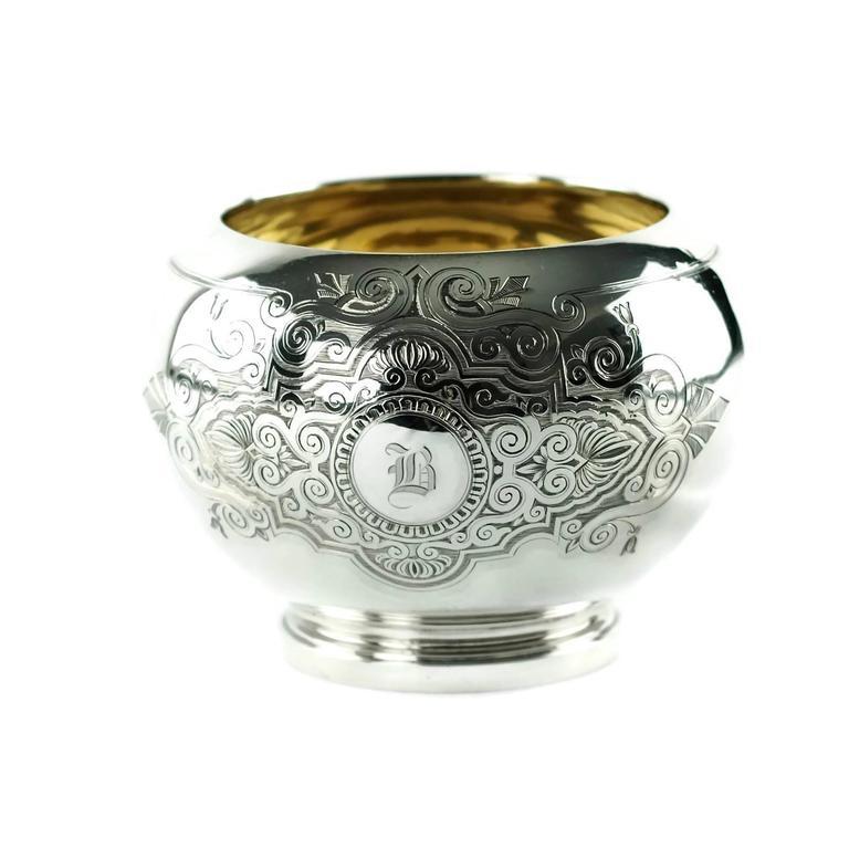 Sterling Silver John R Wendt for Ball Black & Co Seven-Piece Medallion Sterling Tea & Coffee Set For Sale