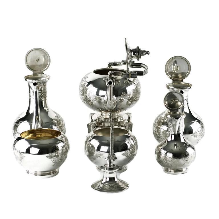 John R Wendt for Ball Black & Co Seven-Piece Medallion Sterling Tea & Coffee Set For Sale 2