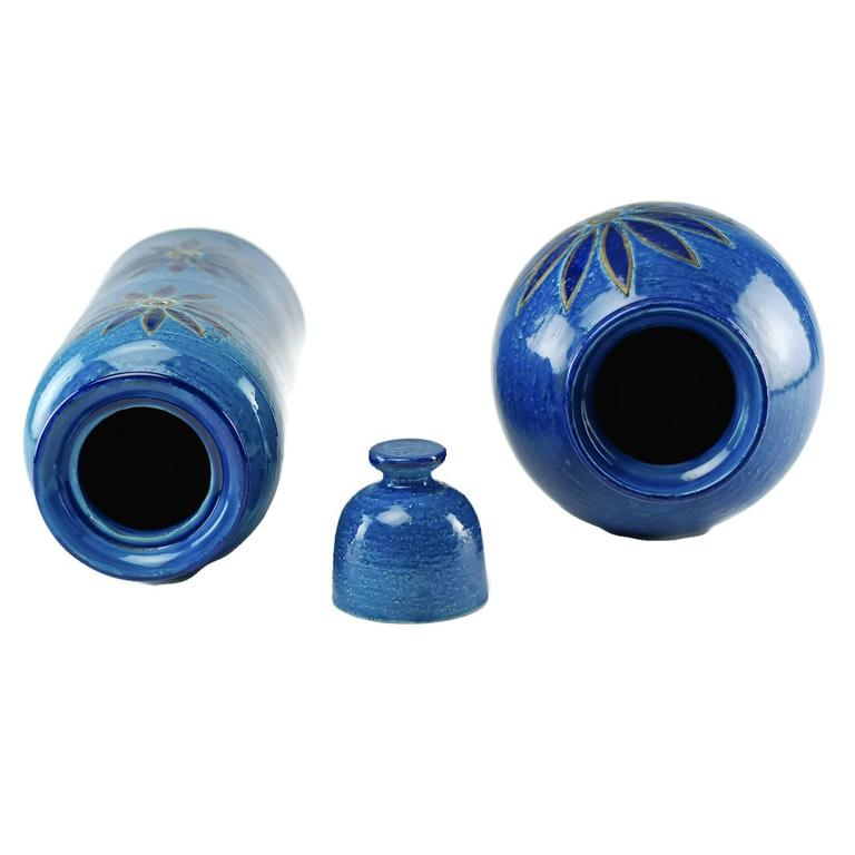 Ceramic Aldo Londi for Bitossi Rimini Blu Vase and Lidded Jar with Floral Decoration For Sale