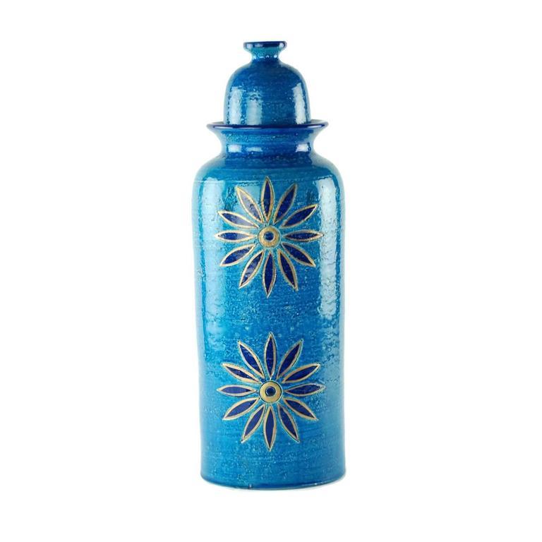 Italian Aldo Londi for Bitossi Rimini Blu Vase and Lidded Jar with Floral Decoration For Sale