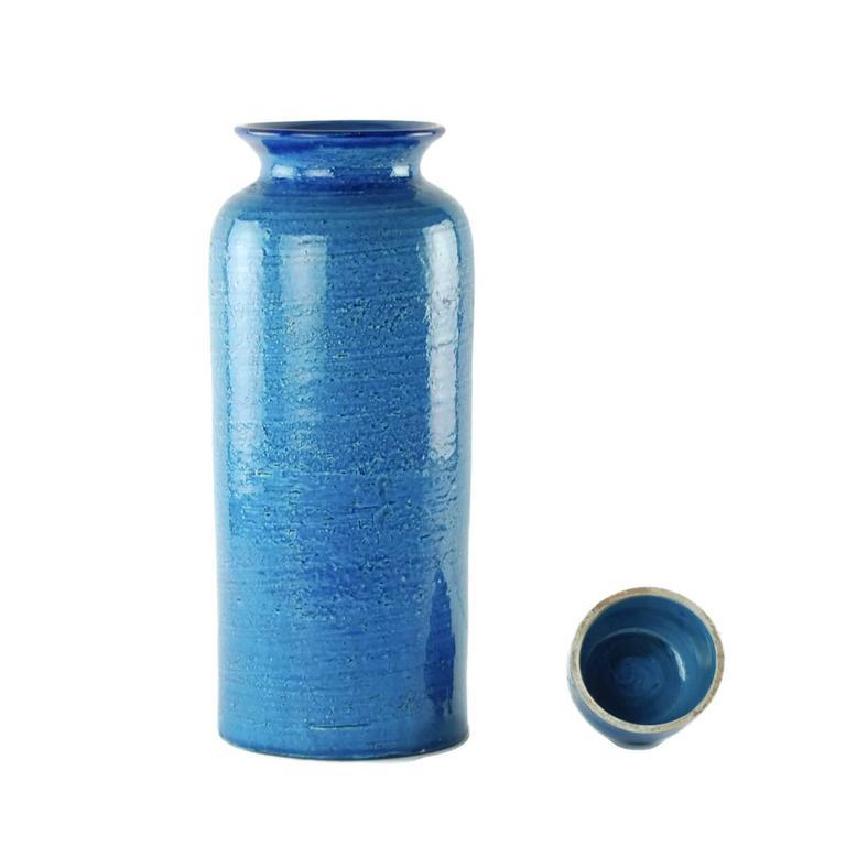 Glazed Aldo Londi for Bitossi Rimini Blu Vase and Lidded Jar with Floral Decoration For Sale
