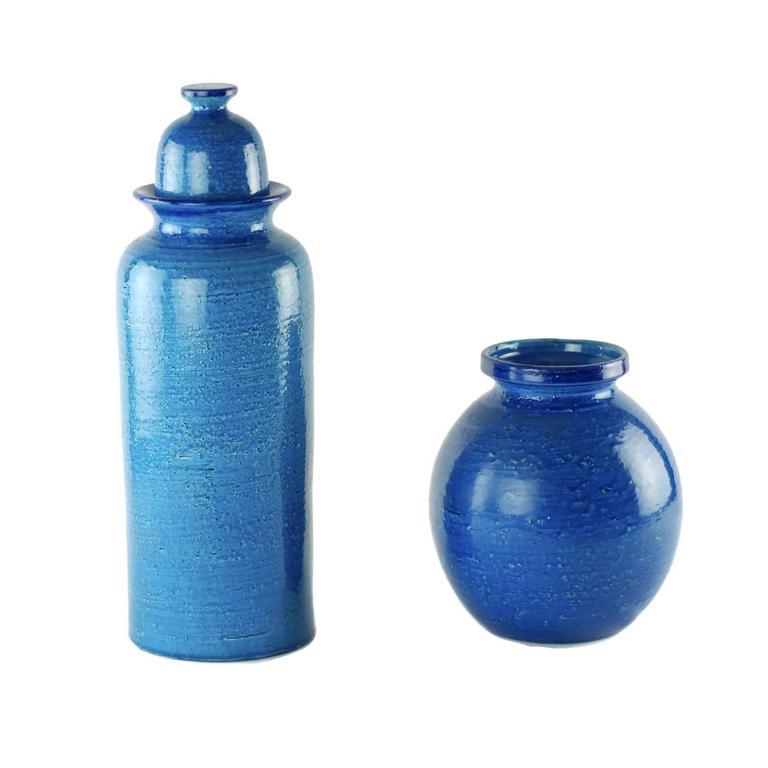 Mid-Century Modern Aldo Londi for Bitossi Rimini Blu Vase and Lidded Jar with Floral Decoration For Sale