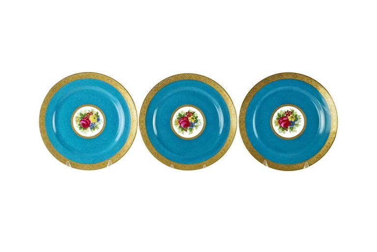 19th Century Charles Ahrenfeldt Limoges Gilt Encrusted Hand-Painted Cabinet Plates, Set of 12 For Sale