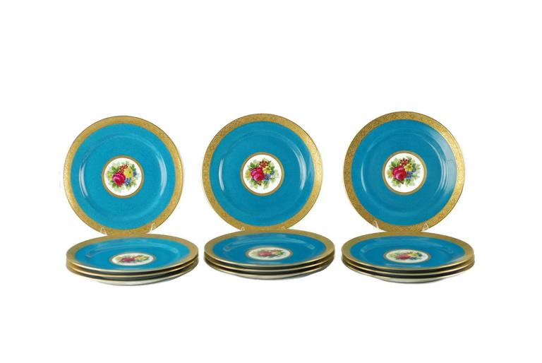 Charles Ahrenfeldt Limoges Gilt Encrusted Hand-Painted Cabinet Plates, Set of 12 In Excellent Condition For Sale In Cincinnati, OH