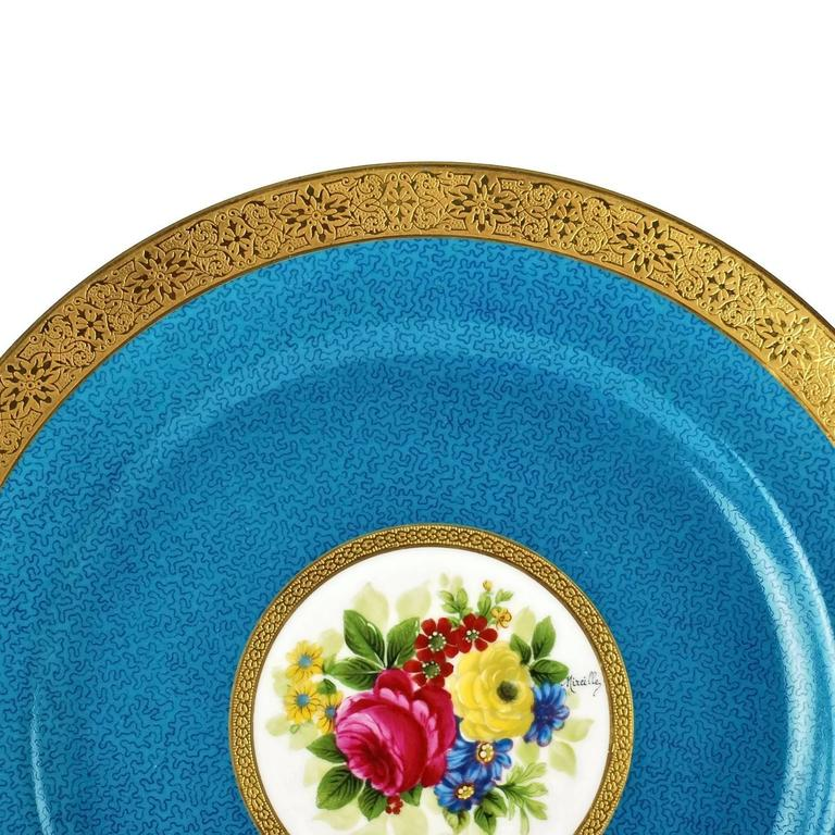 French Charles Ahrenfeldt Limoges Gilt Encrusted Hand-Painted Cabinet Plates, Set of 12 For Sale