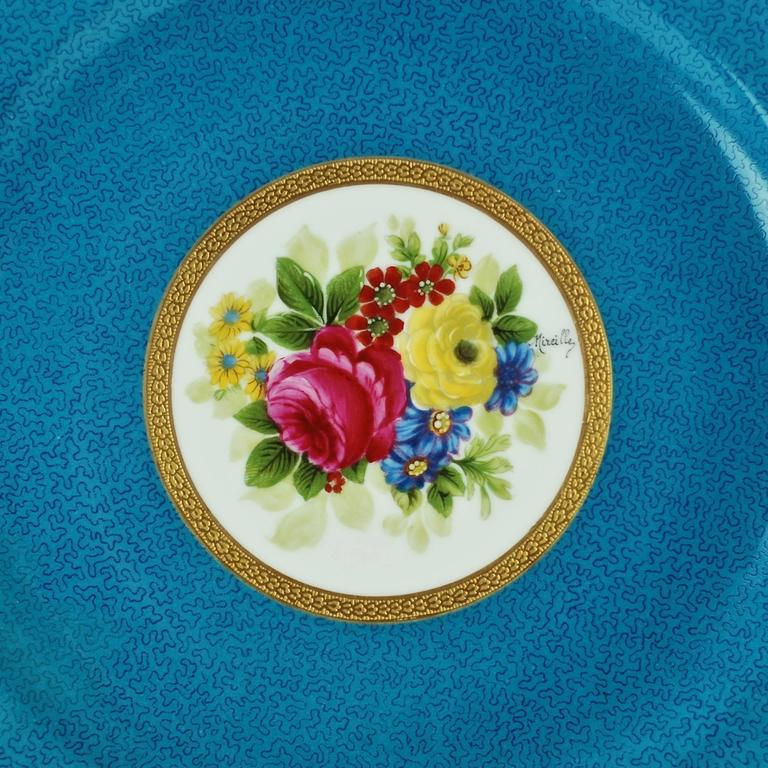 Late Victorian Charles Ahrenfeldt Limoges Gilt Encrusted Hand-Painted Cabinet Plates, Set of 12 For Sale