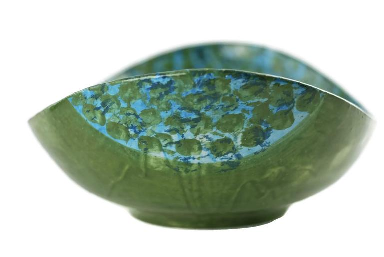 Midcentury Raymor Hand-Painted Italian Ceramic Centerpiece Bowl For Sale 3