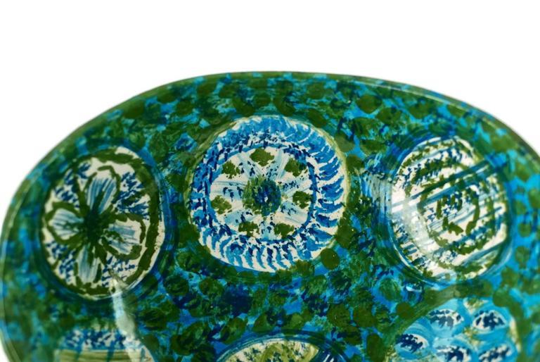 Midcentury Raymor Hand-Painted Italian Ceramic Centerpiece Bowl For Sale 1